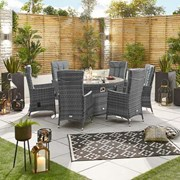 Ruxley 6 Seat Dining Set with Fire Pit - 1.5m Round Table - Grey