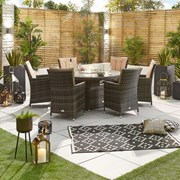 Sienna 6 Seat Dining Set with Fire Pit - 1.5m Round Table - Brown