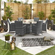 Sienna 6 Seat Dining Set with Fire Pit - 1.5m Round Table - Grey