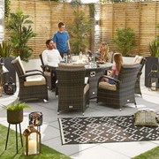 Olivia 6 Seat Dining Set with Fire Pit - 1.5m Round Table - Brown