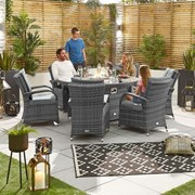 Olivia 6 Seat Dining Set with Fire Pit - 1.5m Round Table - Grey