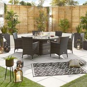 Sienna 6 Seat Rattan Dining Set with 1.5m Round Fire Pit Table - Brown