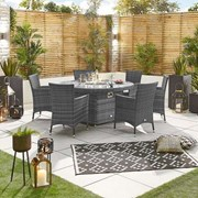 Sienna 6 Seat Rattan Dining Set with 1.5m Round Fire Pit Table - Grey
