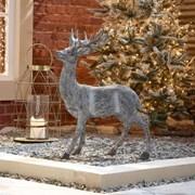 Standing Reindeer Grey Resin Figure 76cm (N18826TWW)