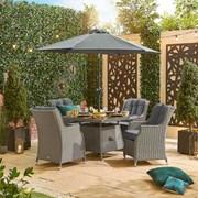 Thalia 4 Seat Rattan Dining Set - 1m Square Table - White Wash