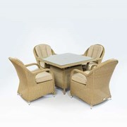 Leeanna 4 Seat Rattan Dining Set - 1m Square Table - Willow