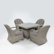 Leeanna 4 Seat Rattan Dining Set - 1m Square Table - White Wash
