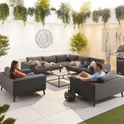 Infinity Corner Fabric Sofa Set with 2 x Lounge Chairs - Dark Grey