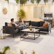 Bliss Corner Fabric Sofa Set - Dark Grey