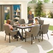 Genoa Fabric 6 Seat Rectangular Dining Set - Light Grey