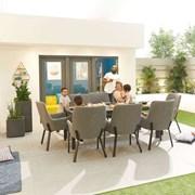 Genoa Fabric 8 Seat Rectangular Dining Set - Light Grey
