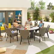 Genoa Fabric 8 Seat Round Dining Set with Firepit - Light Grey