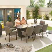 Genoa Fabric 8 Seat Rectangular Dining Set with Firepit - Light Grey