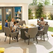 Genoa Fabric 6 Seat Oval Dining Set with Firepit - Light Grey