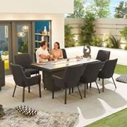 Genoa Fabric 8 Seat Rectangular Dining Set with Firepit - Dark Grey