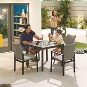 Hugo 4 Seat Square Dining Set - Light Grey