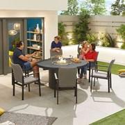 Hugo 6 Seat Round Dining Set with Firepit - Light Grey