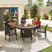 Hugo 6 Seat Round Dining Set with Firepit - Dark Grey