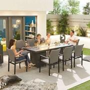 Hugo 8 Seat Rectangular Dining Set with Firepit - Light Grey