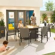 Hugo 6 Seat Oval Dining Set with Firepit - Light Grey