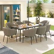 Edge Fabric 8 Seat Rectangular Dining Set - Light Grey
