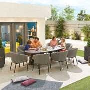 Edge Fabric 8 Seat Oval Dining Set - Light Grey