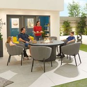 Edge Fabric 6 Seat Round Dining Set with Firepit - Light Grey