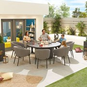 Edge Fabric 8 Seat Round Dining Set with Firepit - Light Grey