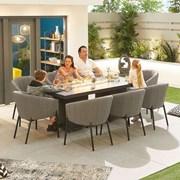 Edge Fabric 8 Seat Rectangular Dining Set with Firepit - Dark Grey