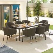 Edge Fabric 8 Seat Rectangular Dining Set - Dark Grey