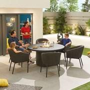 Edge Fabric 6 Seat Round Dining Set with Firepit - Dark Grey