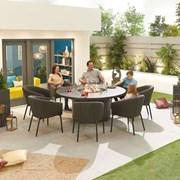 Edge Fabric 8 Seat Round Dining Set with Firepit - Dark Grey