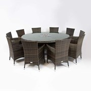 Amelia 10 Seat Rattan Dining Set with Ice Bucket - 1.8m Round Table - Brown