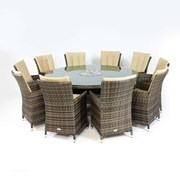 Sienna 10 Seat Rattan Dining Set with Ice Bucket - 1.8m Round Table - Brown