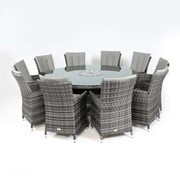 Sienna 10 Seat Rattan Dining Set with Ice Bucket - 1.8m Round Table - Grey