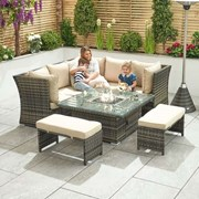 Compact Cambridge Rattan Corner Dining Set with Rising Firepit Brown