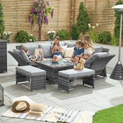Compact Cambridge Rattan Corner Dining Set with Rising Table Grey