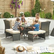 Compact Cambridge Rattan Corner Dining Set with Parasol Hole Brown