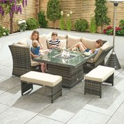 Compact Cambridge Rattan Corner Dining Set with Firepit & Reclining Sides Brown