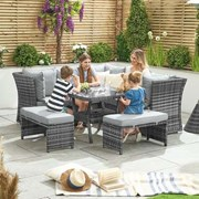 Compact Cambridge Rattan Corner Dining Set with Parasol Hole Grey