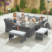 Compact Cambridge Rattan Corner Dining Set with Firepit & Reclining Sides - Grey