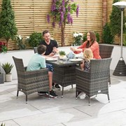 Amelia 4 Seat Rattan Dining Set - 1m Square Table - Brown
