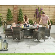 Amelia 6 Seat Rattan Dining Set with Ice Bucket - 1.8m x 1.2m Oval Table - Brown