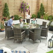 Amelia 8 Seat Rattan Dining Set with Ice Bucket - 1.8m Round Table - Brown