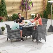 Amelia 4 Seat Rattan Dining Set - 1m Square Table - Grey