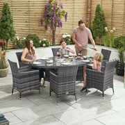 Amelia 6 Seat Rattan Dining Set with Ice Bucket - 1.8m x 1.2m Oval Table - Grey