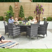 Amelia 8 Seat Rattan Dining Set with Ice Bucket - 1.8m Round Table - Grey