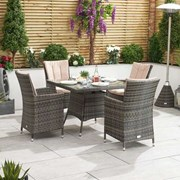 Sienna 4 Seat Rattan Dining Set - 1m Square Table - Brown