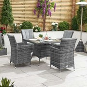 Sienna 4 Seat Rattan Dining Set - 1m Square Table - Grey