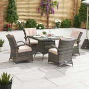 Olivia 4 Seat Rattan Dining Set - 1m Square Table - Brown